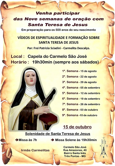 Carmelo São José de Três Pontas se prepara para os 500 anos de nascimento de Santa Teresa de Jesus 3