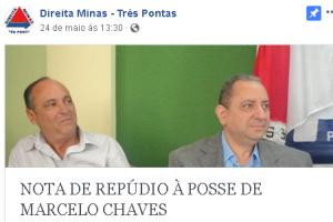 Nota repúdio posse novo prefeito Três Pontas Marcelo Chaves