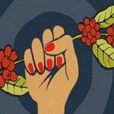 Café Três Pontas Mão Mulher Esmalte Vermelho